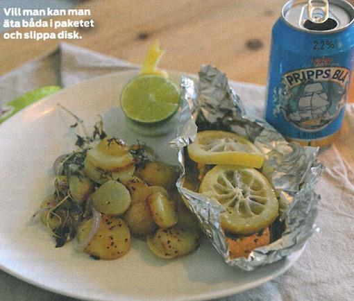 Lax och potatisknyten för grillen