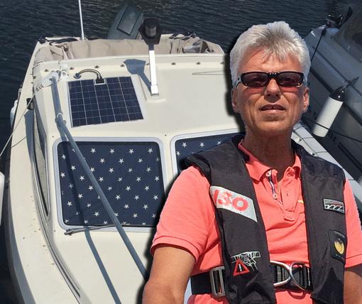 Solcellspanel på en mindre båt